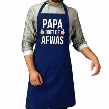 Papa doet de afwas cadeau katoenen schort blauw voor heren
