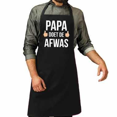 Papa doet de afwas cadeau katoenen schort zwart voor heren