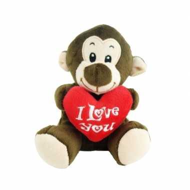 Pluche i love you aap knuffel bruin 14 cm speelgoed