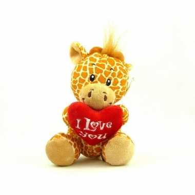 Pluche i love you giraffe knuffel bruin 14 cm speelgoed
