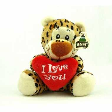 Pluche i love you luipaard knuffel bruin 14 cm speelgoed