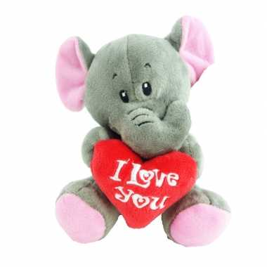 Pluche i love you olifant knuffel grijs 14 cm speelgoed