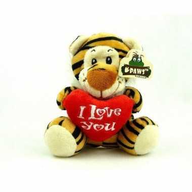 Pluche i love you tijger knuffel bruin 14 cm speelgoed