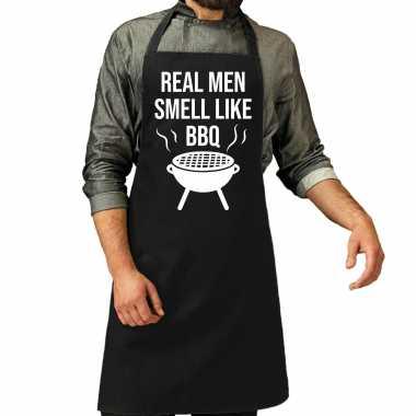 Real men smell like barbecue / bbq schort zwart voor heren