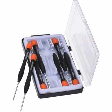 Schroevendraaier precisie/mini set plat en kruiskop 7-delig