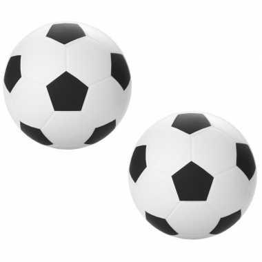 Set van 12x stuks stressbal mini voetballen 6 cm