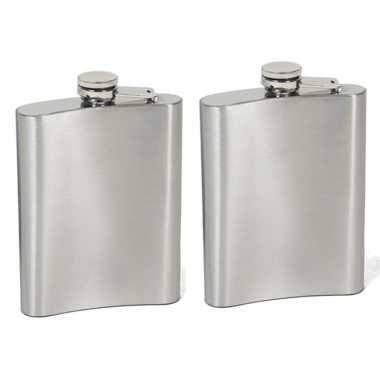 Set van 2x stuks heupfles/drank zakfles 200 ml van rvs