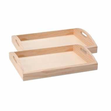 Set van 2x stuks onbewerkt hout dienbladen diy 37 cm