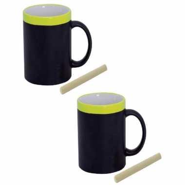 Set van 6x stuks krijt mokken in het geel - beschrijfbare koffie/thee mokken/bekers