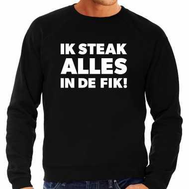 Steak alles in de fik bbq / barbecue cadeau sweater zwart voor heren