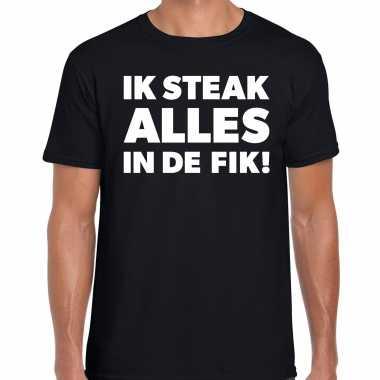 Steak alles in de fik bbq / barbecue cadeau t-shirt zwart voor heren
