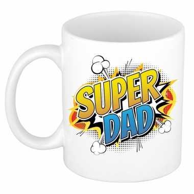Super dad cadeau mok / beker wit pop-art / cartoon stijl 300 ml