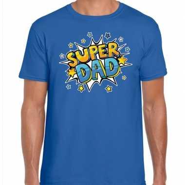 Super dad cadeau t-shirt voor papa blauw voor heren
