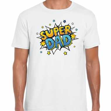Super dad cadeau t-shirt voor papa wit voor heren