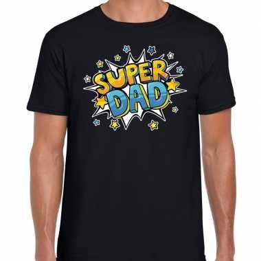 Super dad cadeau t-shirt voor papa zwart voor heren