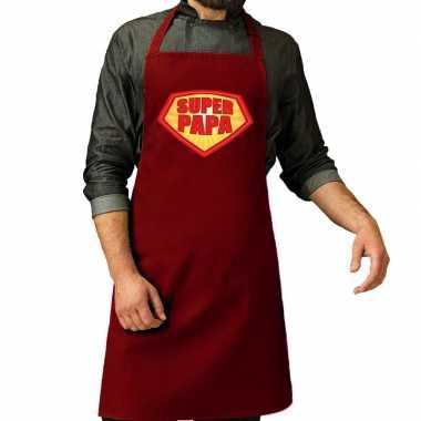 Super papa barbeque schort / keukenschort bordeaux rood voor her