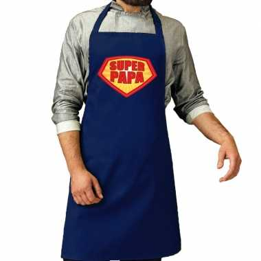 Super papa barbeque schort /keukenschort kobalt blauw voor heren