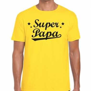 Super papa cadeau t-shirt geel voor heren
