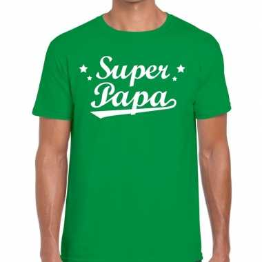 Super papa cadeau t-shirt groen voor heren