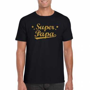 Super papa cadeau t-shirt met gouden glitters op zwart voor heren