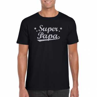 Super papa cadeau t-shirt met zilveren glitters op zwart voor heren