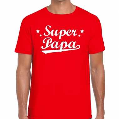 Super papa cadeau t-shirt rood voor heren