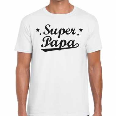 Super papa cadeau t-shirt wit voor heren