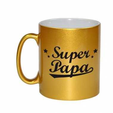 Super papa gouden mok / beker voor vaderdag 330 ml