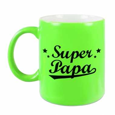 Super papa mok / beker neon groen voor vaderdag/ verjaardag 330 ml