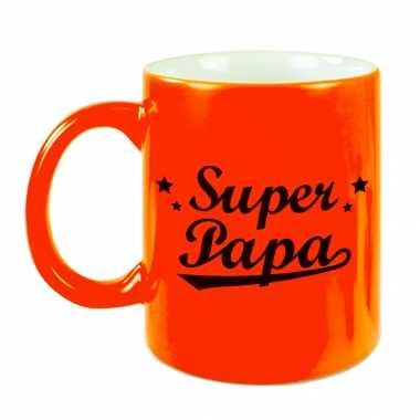 Super papa mok / beker neon oranje voor vaderdag/ verjaardag 330 ml