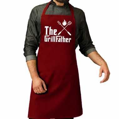 The grillfather barbecue / bbq schort rood voor heren