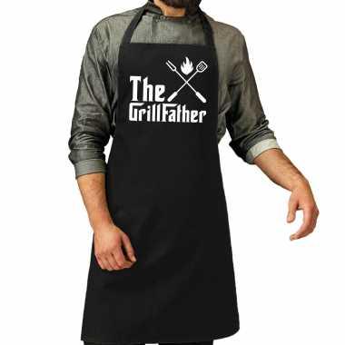 The grillfather barbecue / bbq schort zwart voor heren