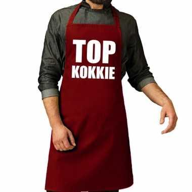 Top kokkie barbeque schort / keukenschort bordeaux rood voor her