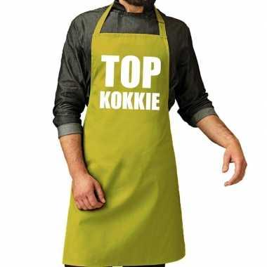 Top kokkie barbeque schort / keukenschort lime groen heren