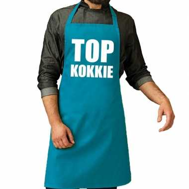 Top kokkie barbeque schort / keukenschort turquoise blauw heren