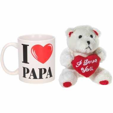 Vaderdag cadeau i love papa beker / mok 300 ml met beige knuffelbeertje met love hartje
