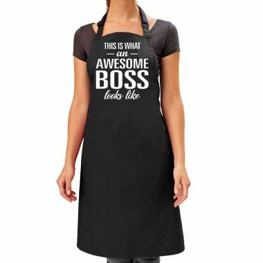 Vaderdag kado schort awesome boss zwart dames