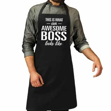 Vaderdag kado schort awesome boss zwart heren