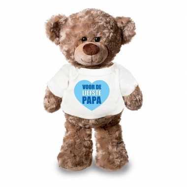 Vaderdagcadeau liefste papa hartje knuffel beer wit shirt 24 cm