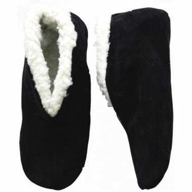 Warme wollen zwarte spaanse sloffen/pantoffels voor dames/heren