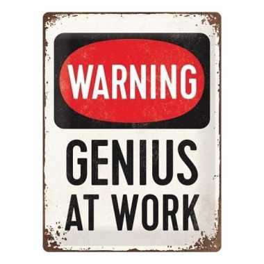 Warning genius at work magneet