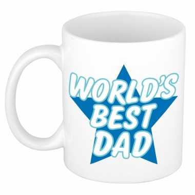 Worlds best dad kado mok / beker wit met blauwe ster - vaderdag / verjaardag