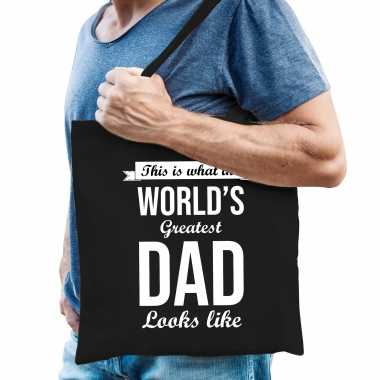 Worlds greatest dad cadeau tas zwart voor heren