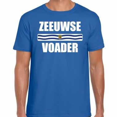 Zeeuwse voader met vlag zeeland t-shirts zeeuws dialect blauw voor heren