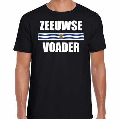 Zeeuwse voader met vlag zeeland t-shirts zeeuws dialect zwart voor heren