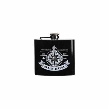 Zwarte heupfles rum 150 ml