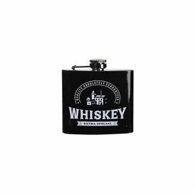 Zwarte heupfles whiskey 150 ml