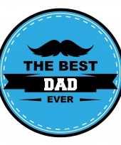 15x stuks vaderdag bierviltjes the best dad ever onderzetters blauw