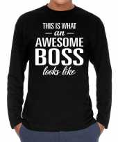Awesome boss baas cadeau t shirt long sleeves heren