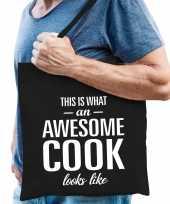Awesome cook kok cadeau tas zwart voor heren